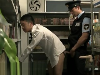 hunk Gay Asian Japanese sex in the Library with security,dildo masturbation toys