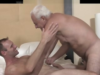 bareback Hung Grandpa Bareback Fucks His Friend oldy